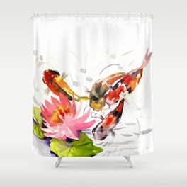 Koi Pond, feng shui koi fish art, design Shower Curtain