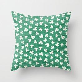 DANCING SHAMROCKS on green Throw Pillow