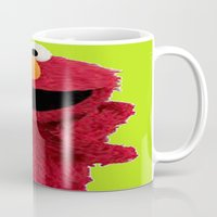 elmo Mugs featuring ELMO DUVET COVER by aztosaha
