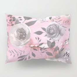 berry juice floral watercolor pink gray Pillow Sham