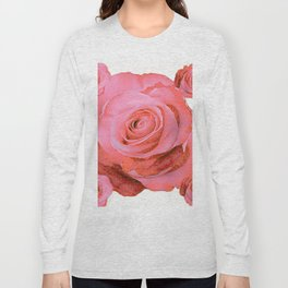OLD PINK ROSES & CREAM COLOR MODERN ART CONCEPT Long Sleeve T-shirt