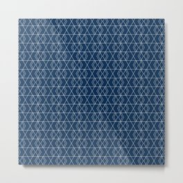 Geometric Hexagon Pattern - Spanish Blue Metal Print