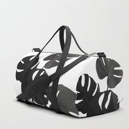 Monstera Leaves Black & White Vibes #1 #minimal #decor #art #society6 Duffle Bag