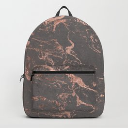 Modern Grey cement concrete on rose gold marble Backpack