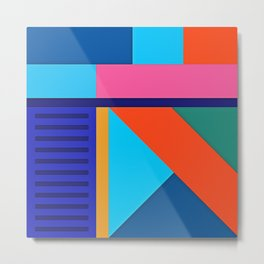 Modern Vibrant Geometric Pattern #10 Rectangles and Triangles Metal Print