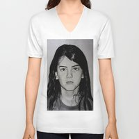 blanket V-neck T-shirts featuring Blanket Jackson by Brooke Shane