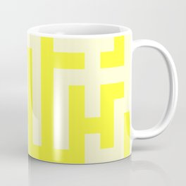 Cream Yellow and Electric Yellow Labyrinth Coffee Mug