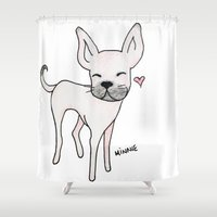 minnie Shower Curtains featuring Minnie by Daynasdoodleydoos