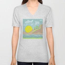 Sunrise , abstract Unisex V-Neck