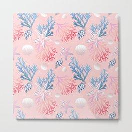 Sea shells pattern design pink background Metal Print