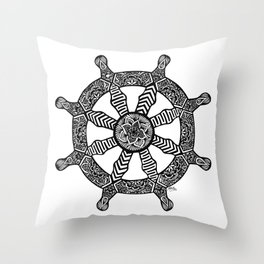 Zentangle - Dharma Wheel  Throw Pillow