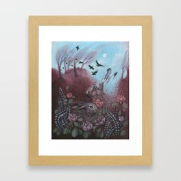 Hares and Crows Framed Art Print