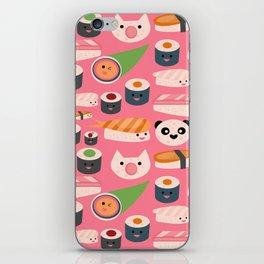 Kawaii sushi hot pink iPhone Skin