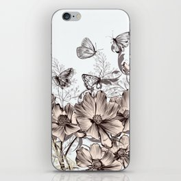 Butterfly Flowers And Butterflies Stencil iPhone Skin