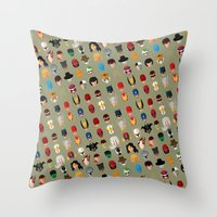 superheroes Throw Pillows featuring SuperHeroes by Luca Giobbe