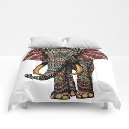 Ornate Elephant (Color Version) Comforters