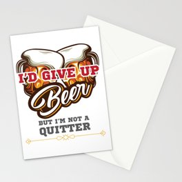 Beer Drinker Gift I'd Give Up Beer But I'm Not a Quitter Gift Stationery Cards