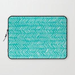 Turquoise Herringbone Lines Laptop Sleeve