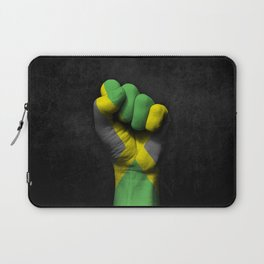 Jamaican Flag on a Raised Clenched Fist Laptop Sleeve