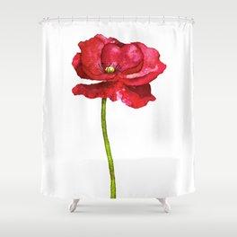 Ink Poppy Painting (Original Artwork) Shower Curtain