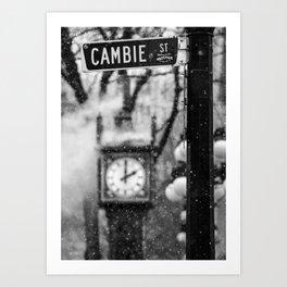 Cambie Street (snow) Art Print