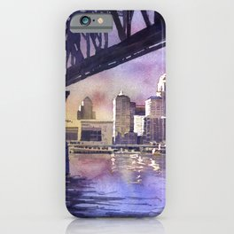 Louisville, KY skyline at sunset.  Watercolor painting of Louisville, Kentucky skyline at sunset iPhone Case