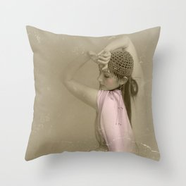 """Mattaharish"" - The Playful Pinup - Vintage Weathered Pinup Girl by Maxwell H. Johnson Throw Pillow"