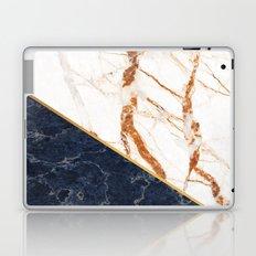 Classy Elegant White Blue Gold Marble Laptop & iPad Skin