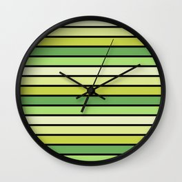Multicolored Stripes: Shades of Green Wall Clock