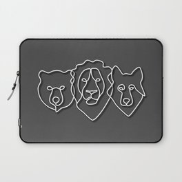 Lion, wolf, and bear head line art in white in minimal style with grey background Laptop Sleeve