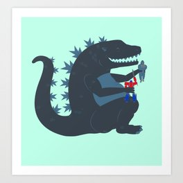 Let's be best friends forever! - Godzilla Art Print