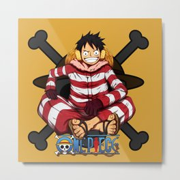 Luffy the Crazy Pirates - OnePiece Metal Print
