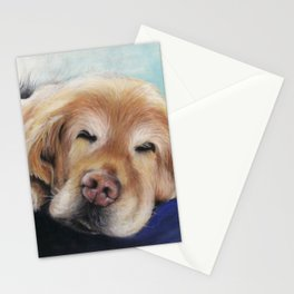 Sweet Sleeping Golden Retriever Puppy by annmariescreations Stationery Cards