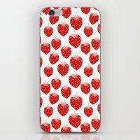 vegetarian iPhone & iPod Skins featuring Strawberries - trendy fresh tropical fruit vegan vegetarian juice juicing cleanse by CharlotteWinter