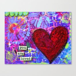 Love, Valentine's Day, Family, Heart, You are Loved Painting, Red Heart, Lavender, Blue, Green Canvas Print