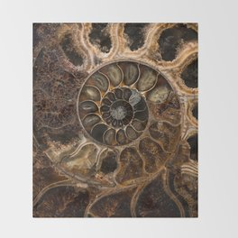 Earth treasures - Fossil in brown tones Throw Blanket