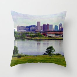 Baltimore Skyline from Middle Branch Park, Baltimore Art, Urban Art, Maryland  Throw Pillow