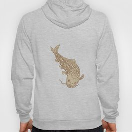 Koi Nishikigoi Carp Diving Down Drawing Hoody