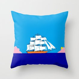 A Clipper Ship at Sunset, Pink clouds and Sun, Nautical Scene Throw Pillow
