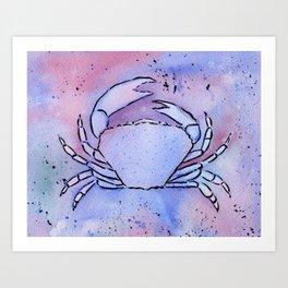 Crab Watercolor Mixed Media Art Art Print