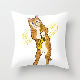 Cat Playing Saxophone Saxophonist  Throw Pillow