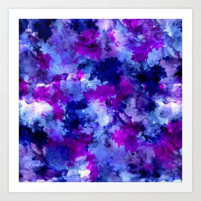 Modern blue purple watercolor brushstrokes paint Art Print