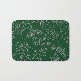 Forest green country chic faux silver floral leaves Bath Mat