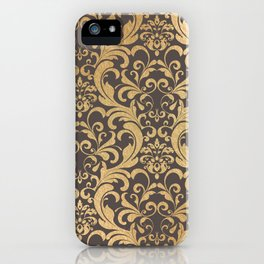 Gold swirls damask #1 iPhone Case