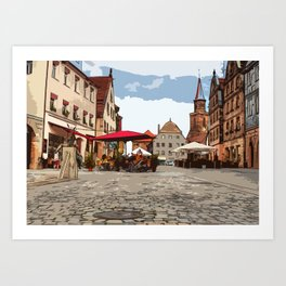 Green Market in Fürth Art Print