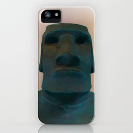 Easter Island Blue Man Statue iPhone Case