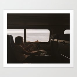 WOMAN READING NEWSPAPER ON TRAIN Art Print