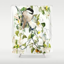 chickadee and dogwood, chickadee art design floral Shower Curtain