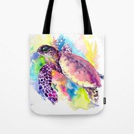 Sea Turtle in Coral Reef, tropical colors sea world purple yellow blue turtle art, turtle illustrati Tote Bag