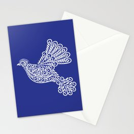 Peace, Dove, White on Blue Stationery Cards
